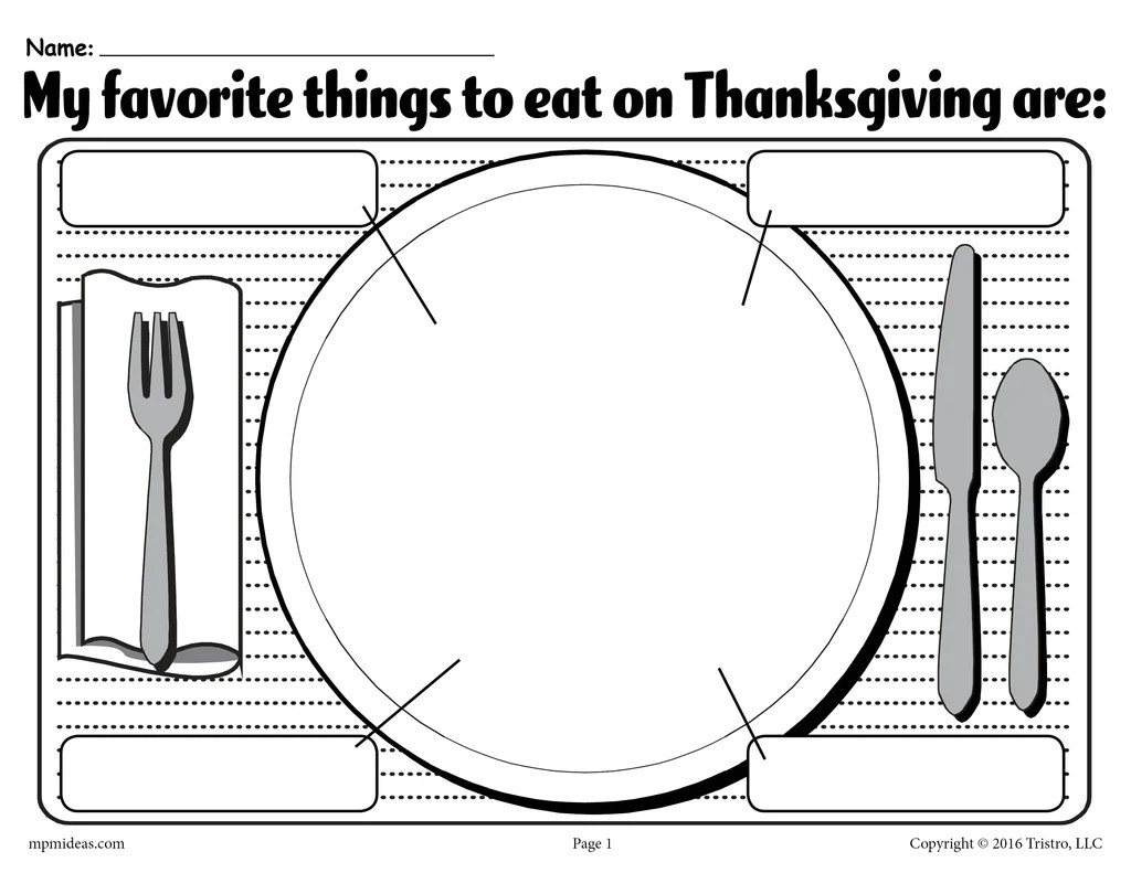 My Favorite Things To Eat On Thanksgiving\ Printable Worksheet! – SupplyMe [ 791 x 1024 Pixel ]