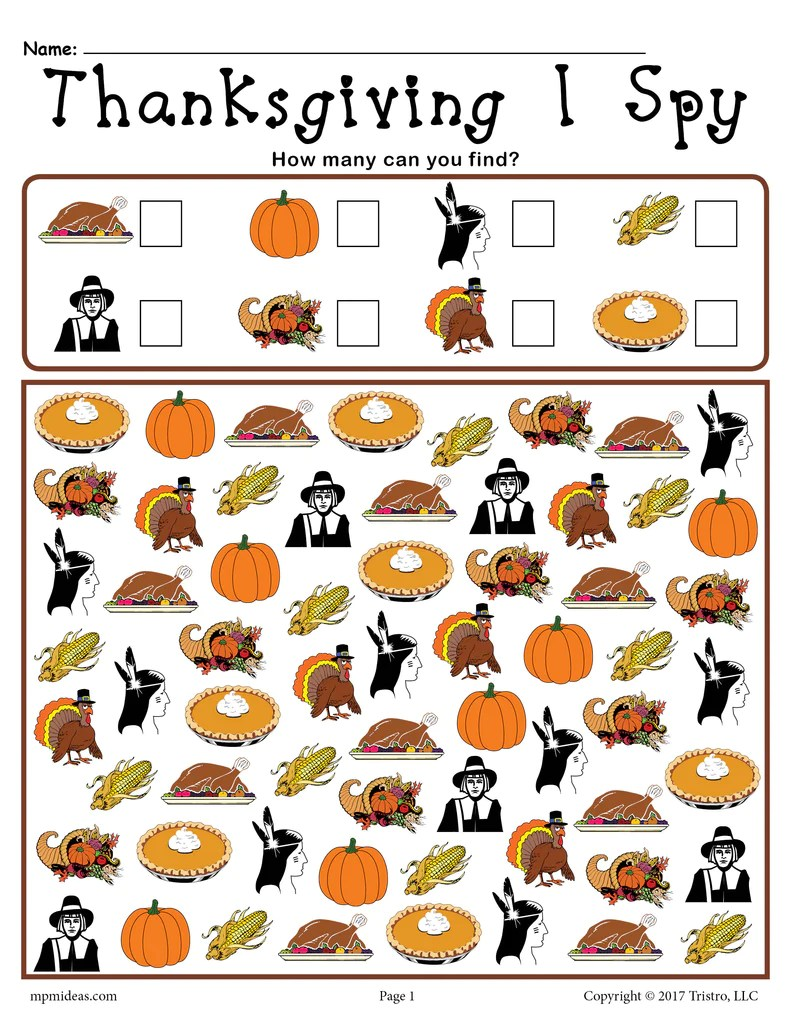 hight resolution of Thanksgiving I Spy - Printable Thanksgiving Counting Worksheet! – SupplyMe