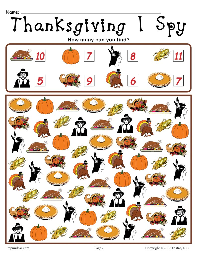 Thanksgiving I Spy - Printable Thanksgiving Counting Worksheet! – SupplyMe [ 1024 x 791 Pixel ]
