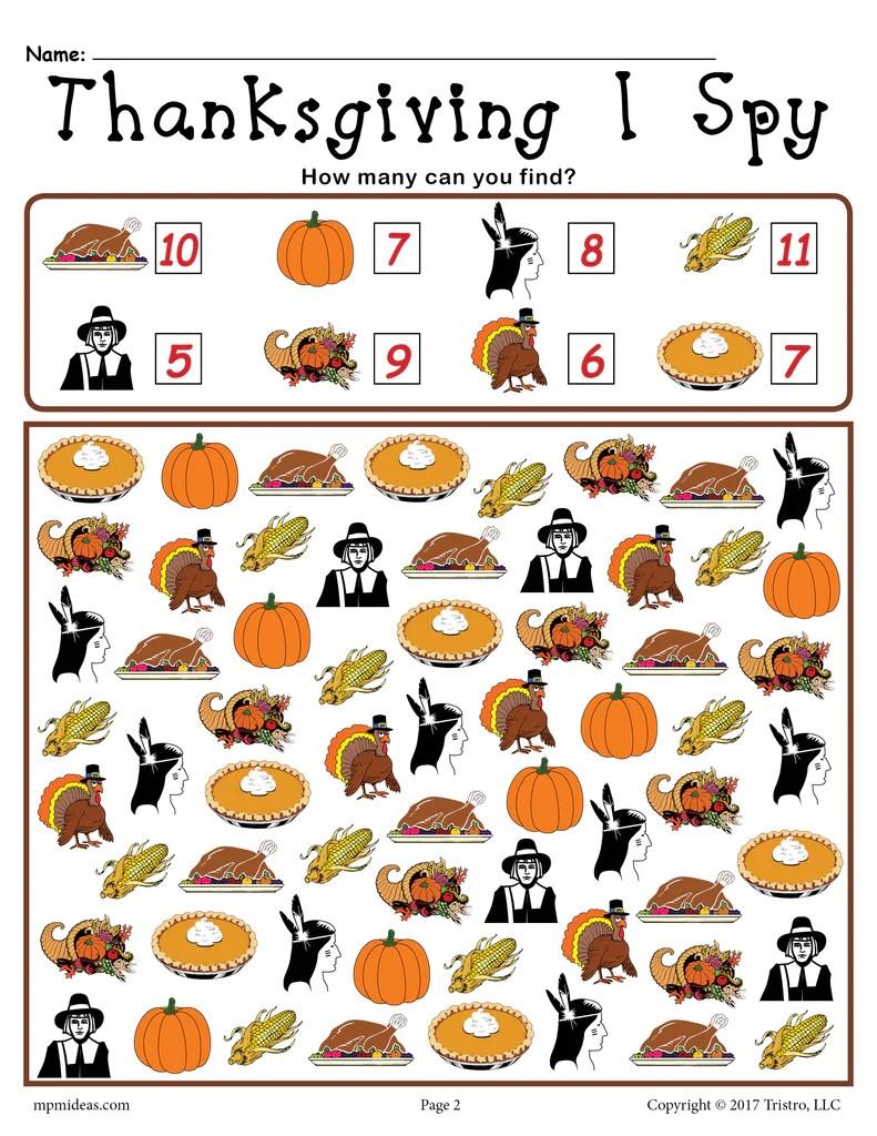 medium resolution of Thanksgiving I Spy - Printable Thanksgiving Counting Worksheet! – SupplyMe