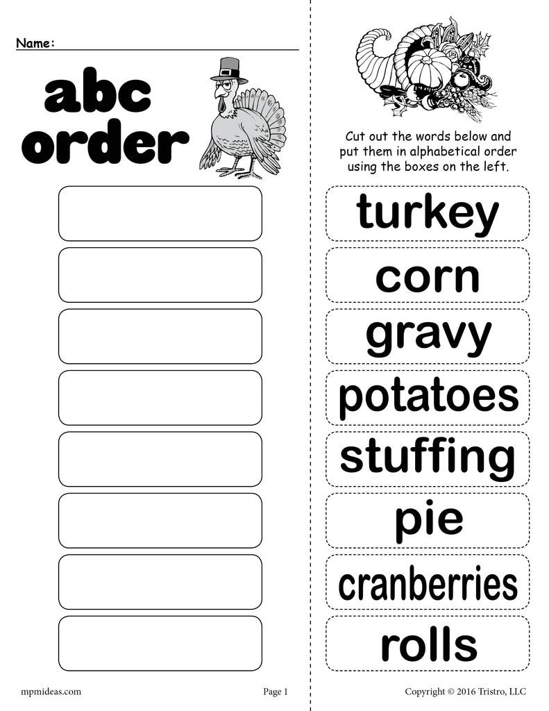 medium resolution of Thanksgiving Themed Alphabetical Order Worksheet! – SupplyMe