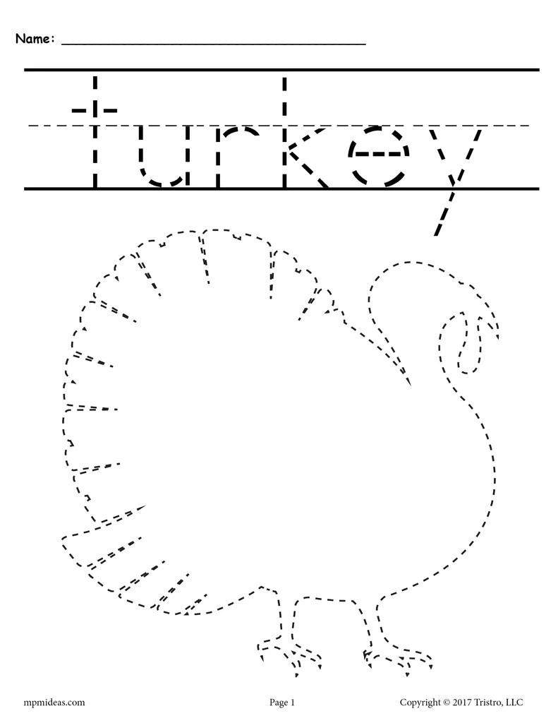 hight resolution of 8 Printable Thanksgiving Tracing Worksheets \u0026 Handwriting Worksheets! –  SupplyMe