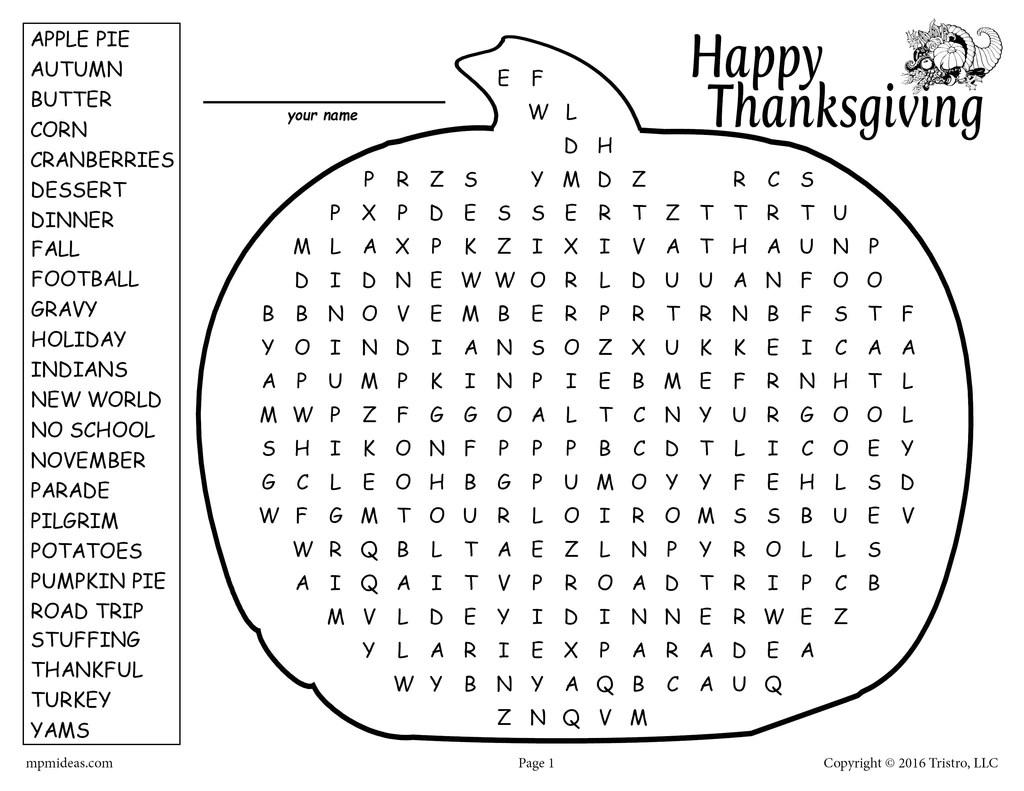 medium resolution of Printable Thanksgiving Word Search! – SupplyMe