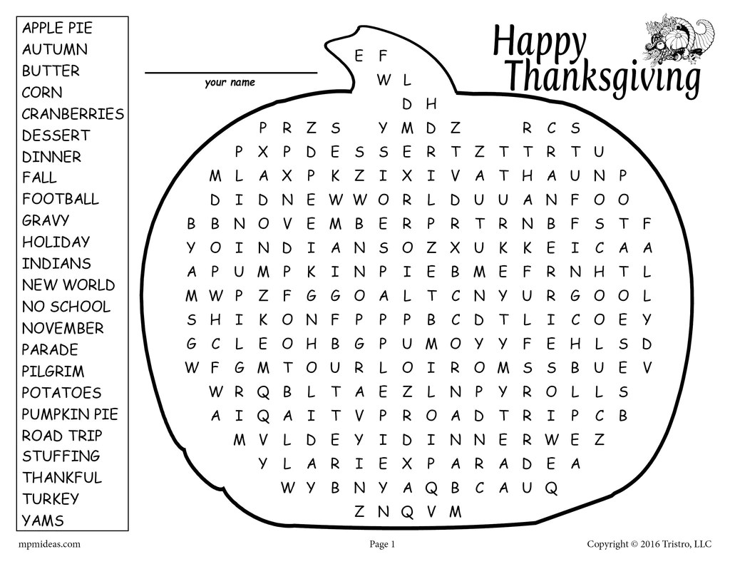 hight resolution of Printable Thanksgiving Word Search! – SupplyMe