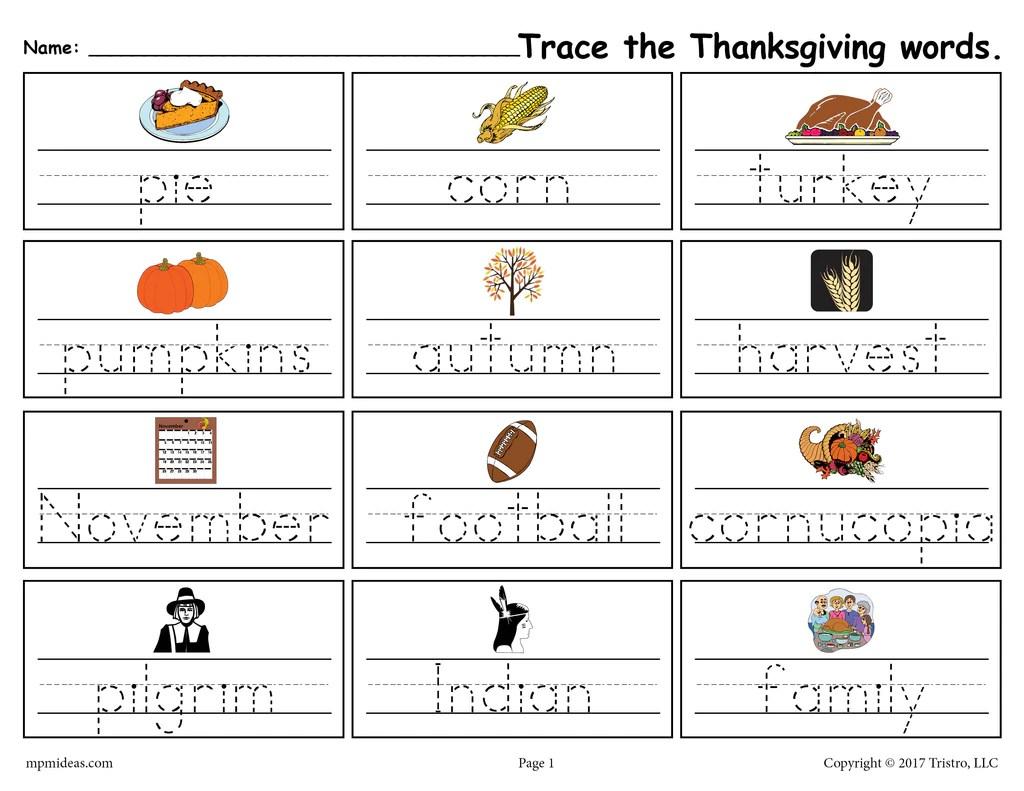 Printable Thanksgiving Words Handwriting \u0026 Tracing Worksheet! – SupplyMe [ 791 x 1024 Pixel ]