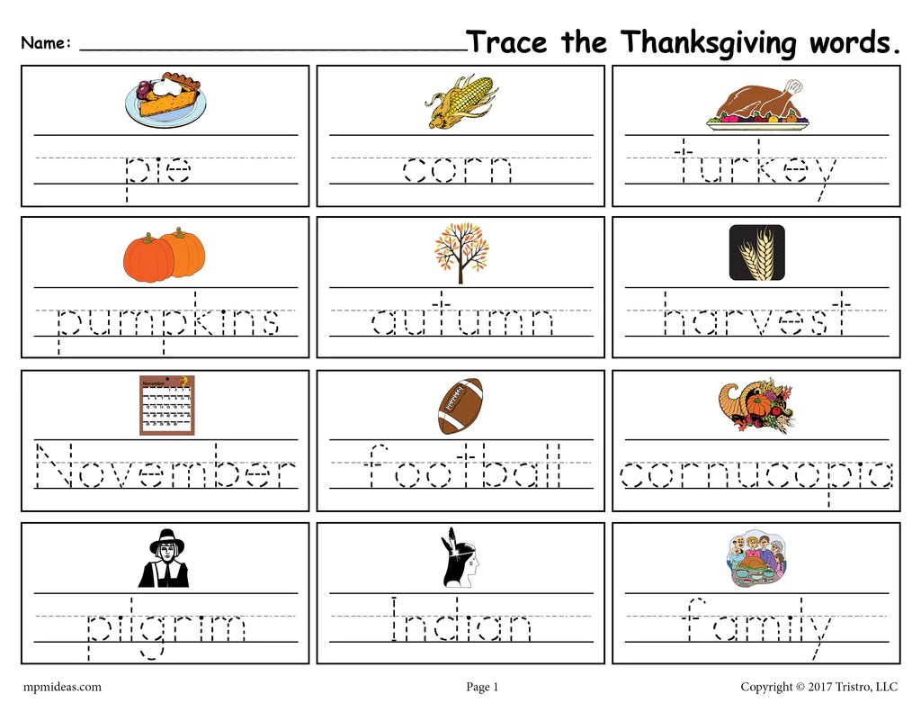 small resolution of Printable Thanksgiving Words Handwriting \u0026 Tracing Worksheet! – SupplyMe