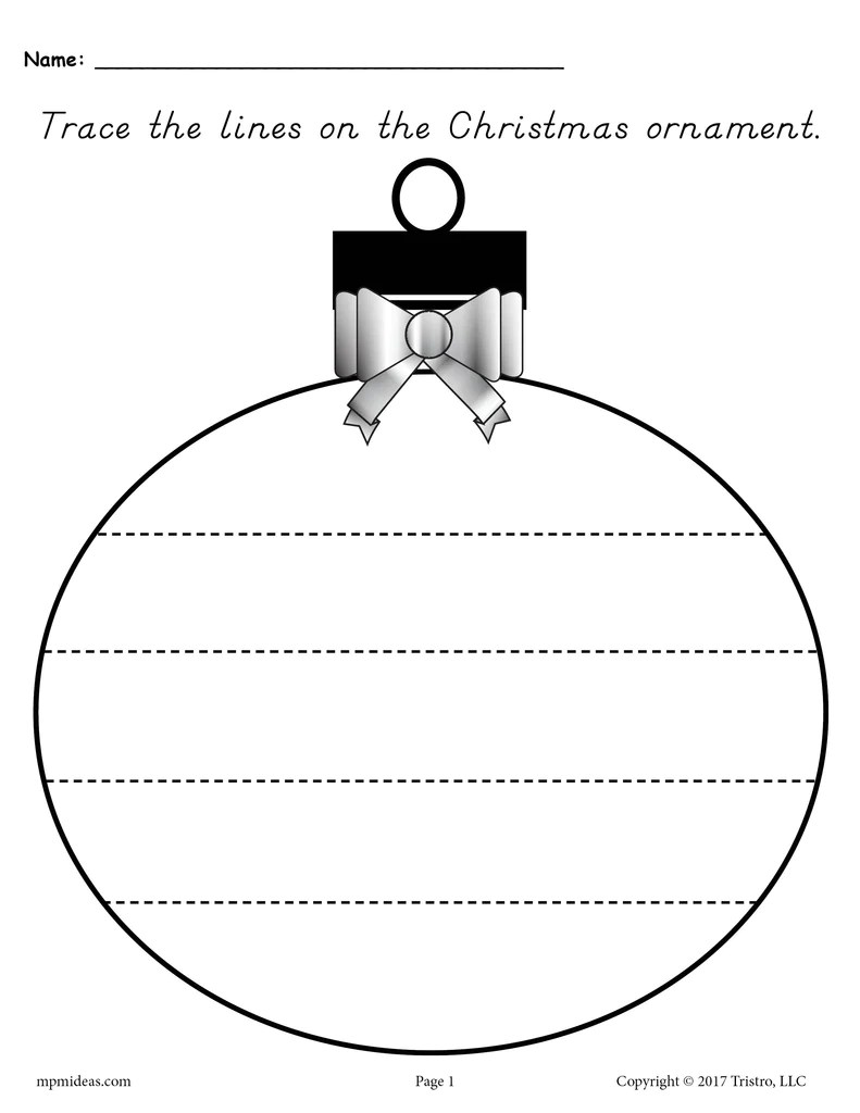 Printable Christmas Ornament Line Tracing Worksheets Supplyme