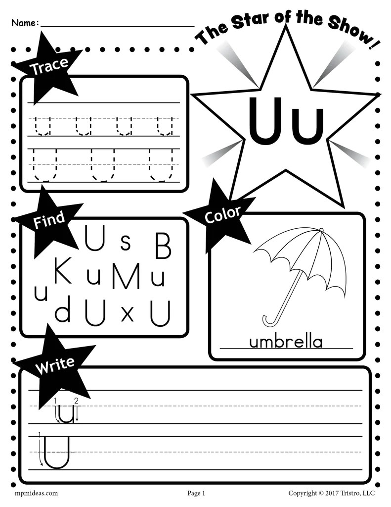 small resolution of Letter U Worksheet: Tracing