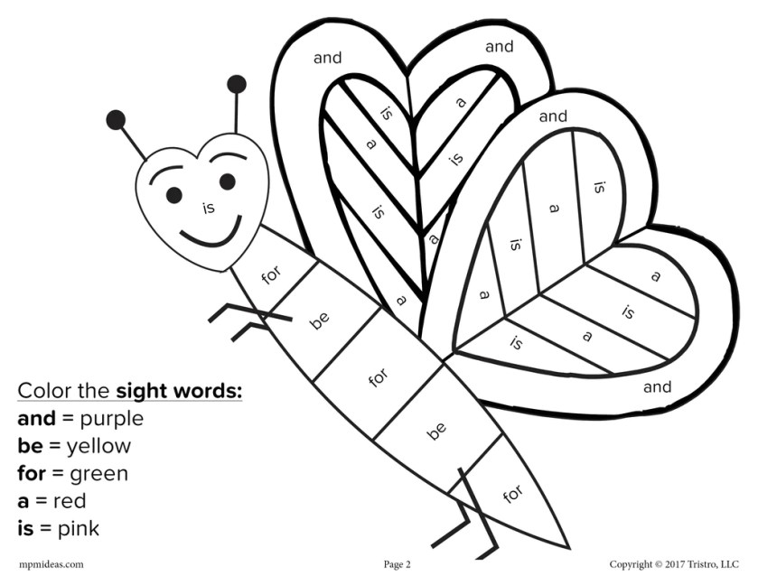 valentine's day colorsight word  4 free printable