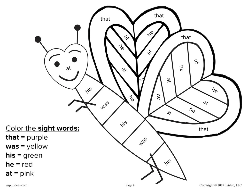 Valentine's Day Color By Sight Word - 4 Printable Worksheets! – SupplyMe [ 791 x 1024 Pixel ]