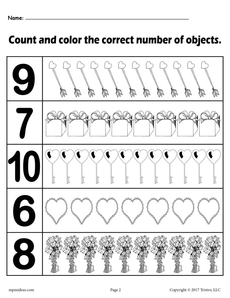 medium resolution of Valentine's Day \Count and Color\ Worksheets - (3 Printable Versions)! –  SupplyMe