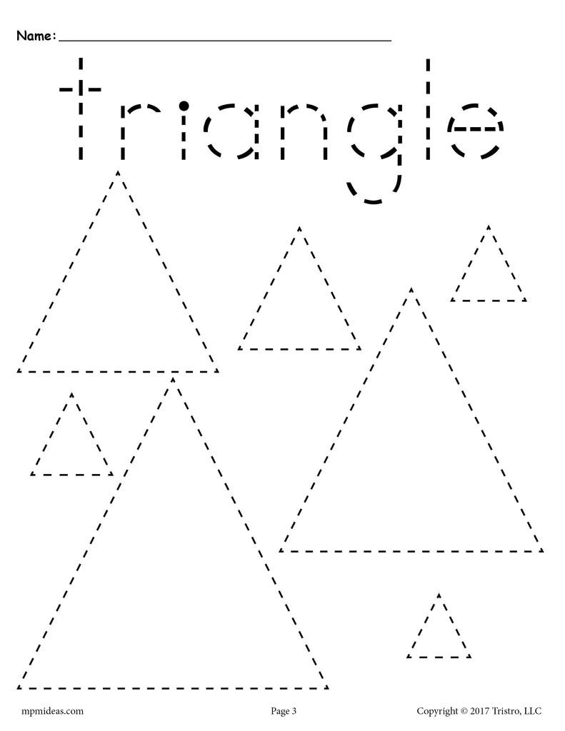 hight resolution of Triangles Tracing Worksheet - Tracing Shapes Worksheets – SupplyMe