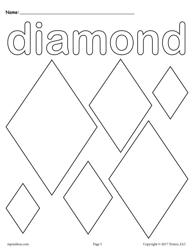 Diamond Coloring Pages : diamond, coloring, pages, Diamonds, Coloring, Diamond, Shape, Worksheet, SupplyMe