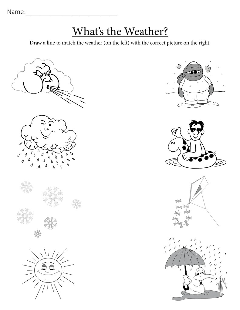medium resolution of What's the Weather?\ Printable Matching Worksheet – SupplyMe