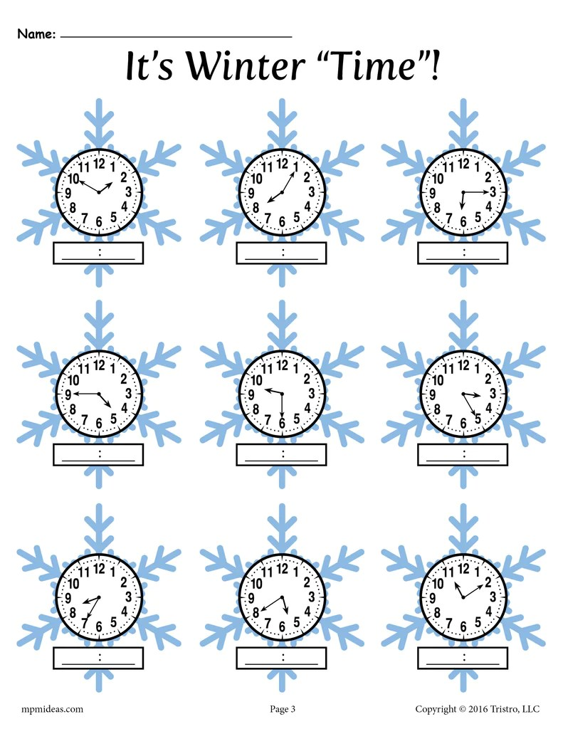 Winter Themed Telling Time Worksheets! (4 Printable Versions) – SupplyMe [ 1024 x 791 Pixel ]