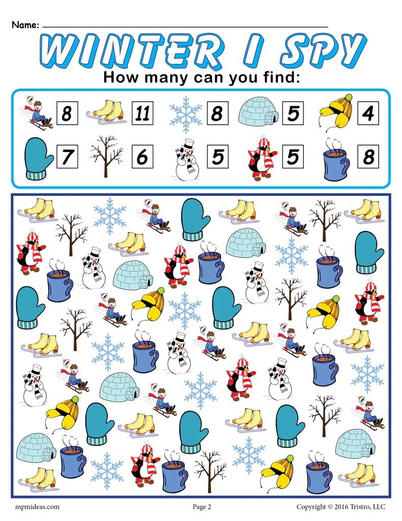 Winter I Spy - Printable Winter Counting Worksheet! – SupplyMe [ 1024 x 791 Pixel ]