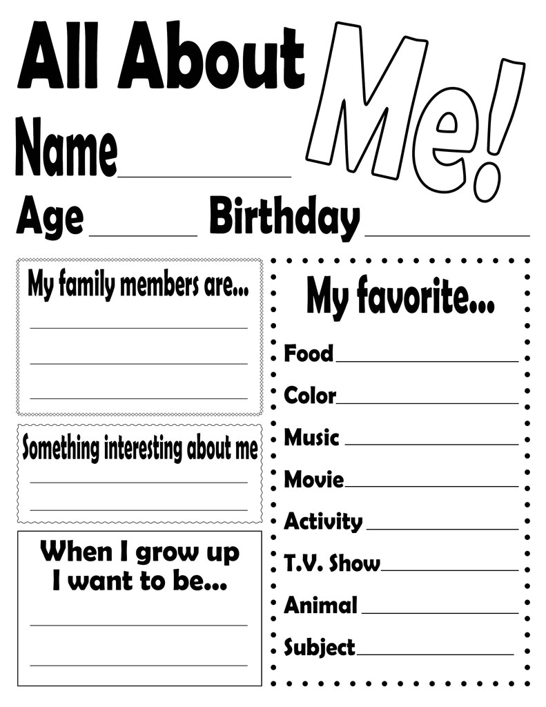 """""""all About Me!"""" Free Printable Worksheet  Supplyme"""