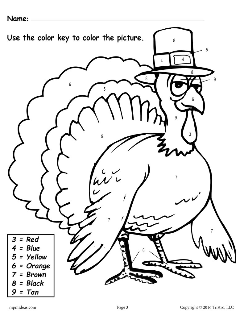 Color the Turkey\ Addition \u0026 Color-by-Number Worksheets – SupplyMe [ 1024 x 791 Pixel ]