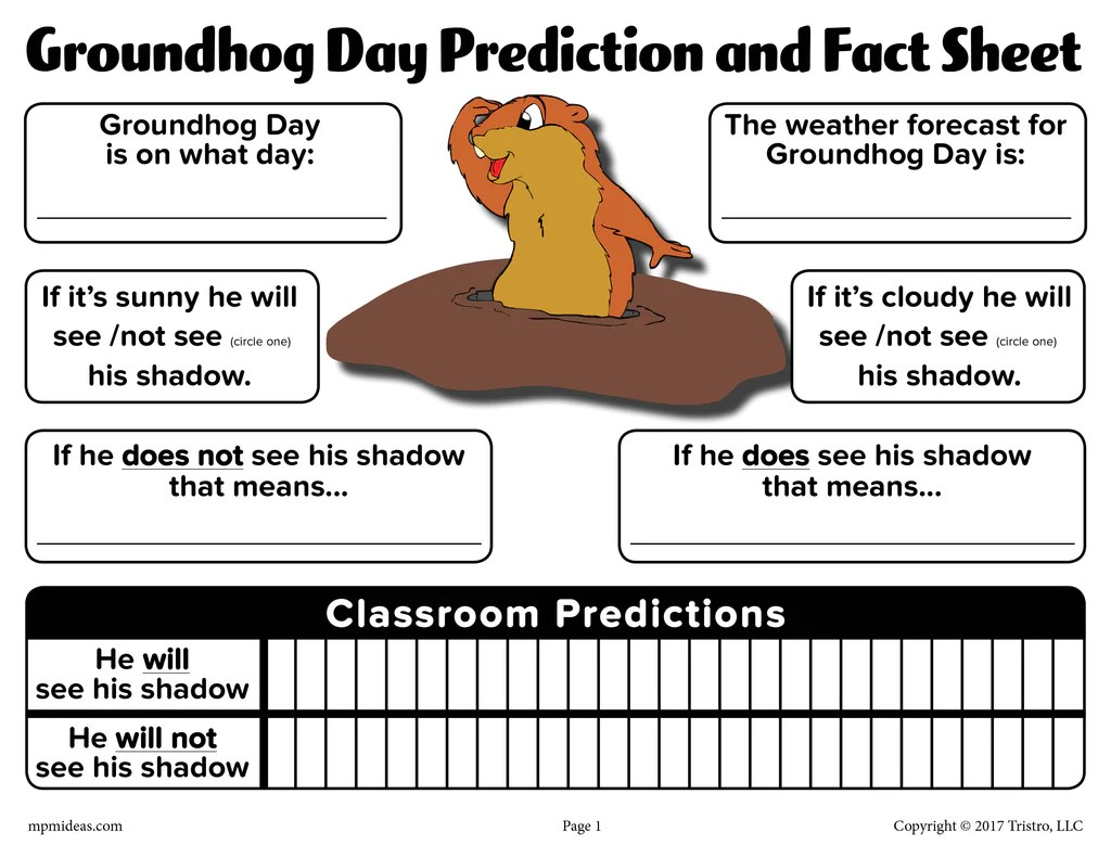 Groundhog Day Prediction \u0026 Discussion Worksheet – SupplyMe [ 791 x 1024 Pixel ]