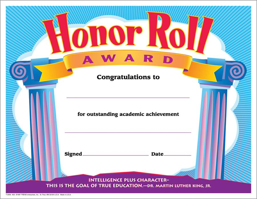 free honor roll certificate template