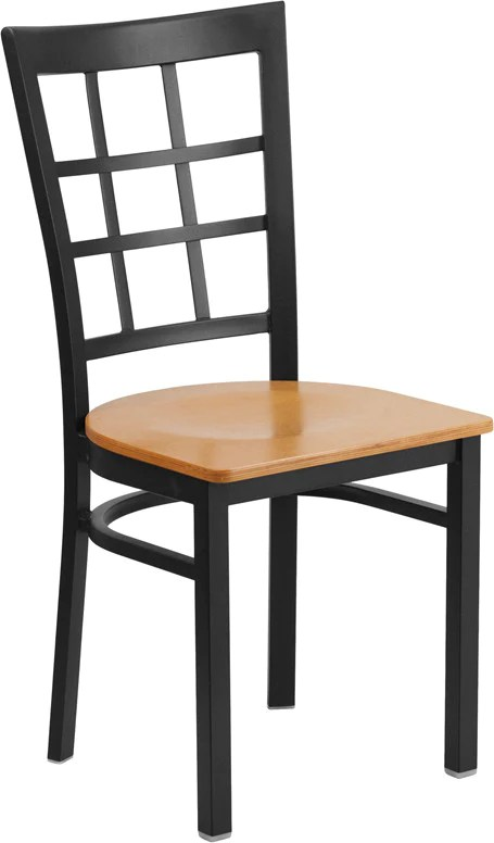 metal restaurant chairs walmart patio table and window back chair with natural wood seat com direct