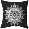 Contemporary Black And White Mandala Design Pillow With