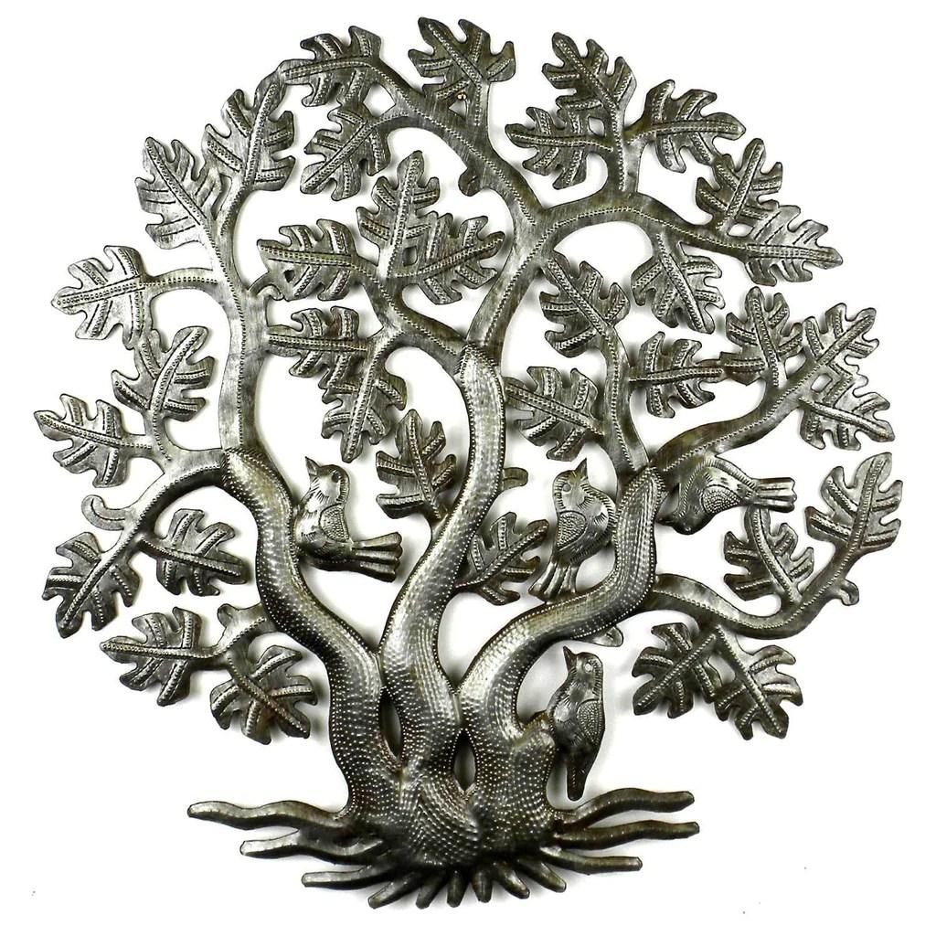 tree of life wall decor fair trade recycled haitian steel
