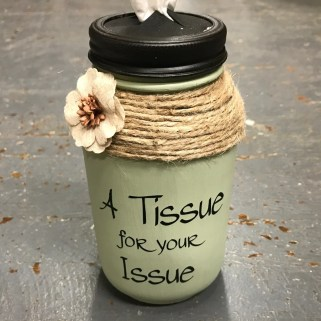 upcycled glass jar tissue holder