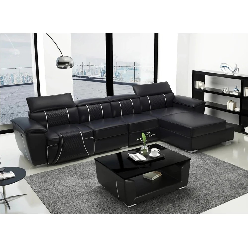 trendy black leather sectional sofa