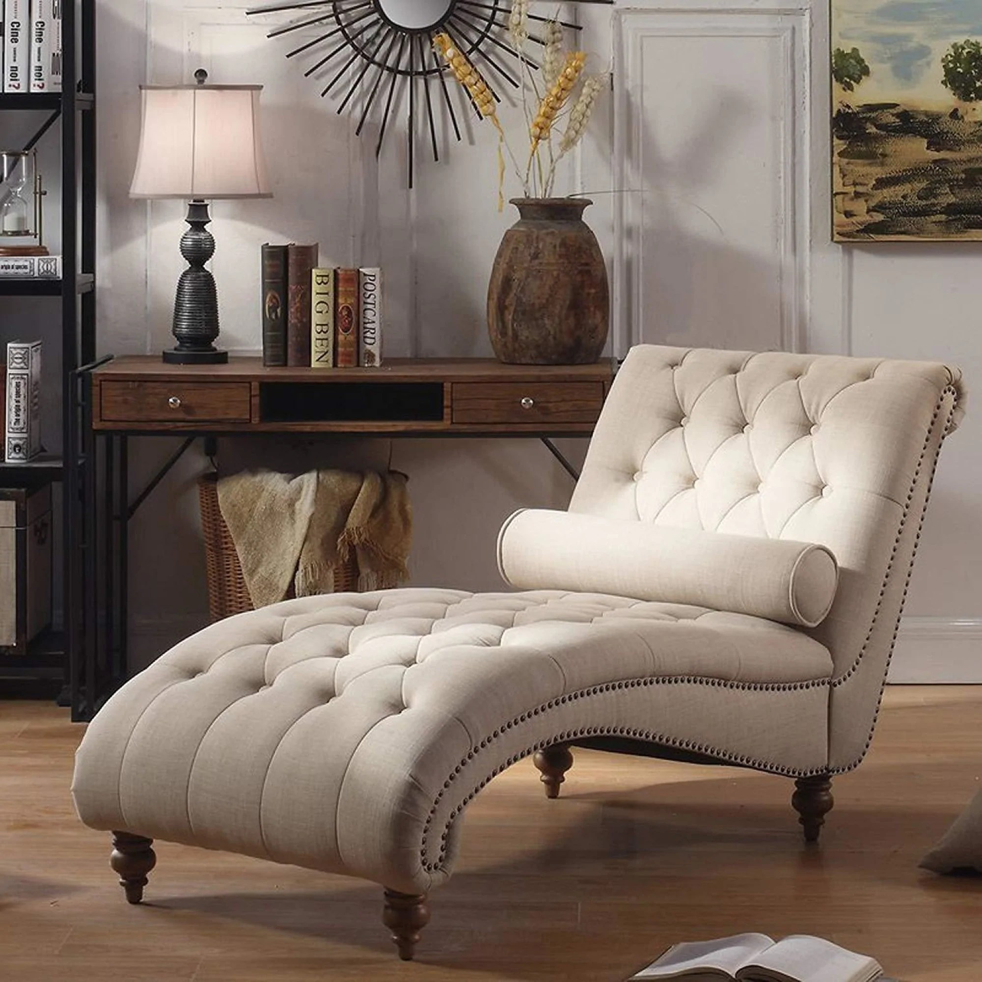 Luxorious Indoor Chaise Lounge Chair Contemporary Tufted