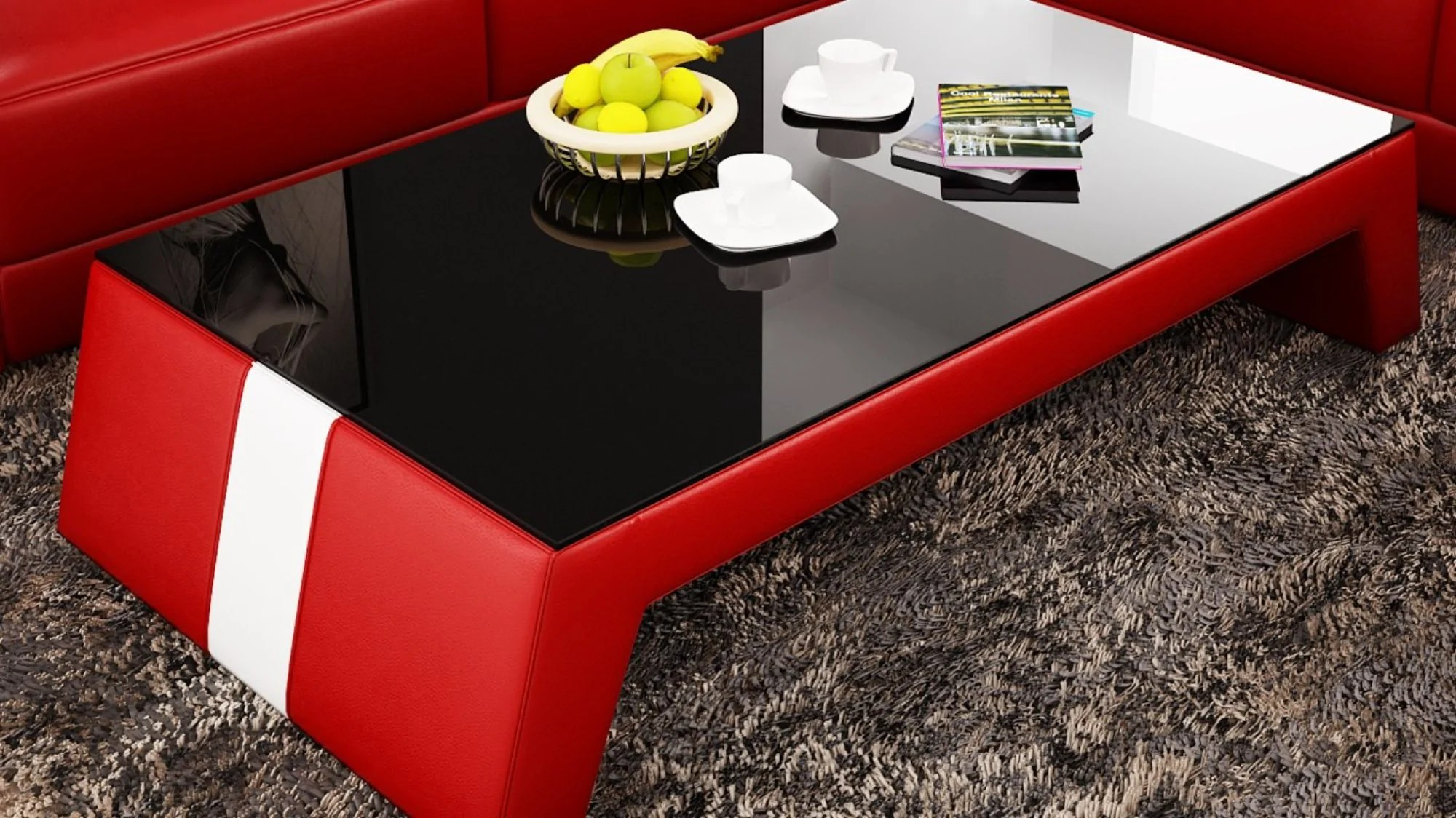 Contemporary Red Leather Coffee Table w/Black Glass Table ...