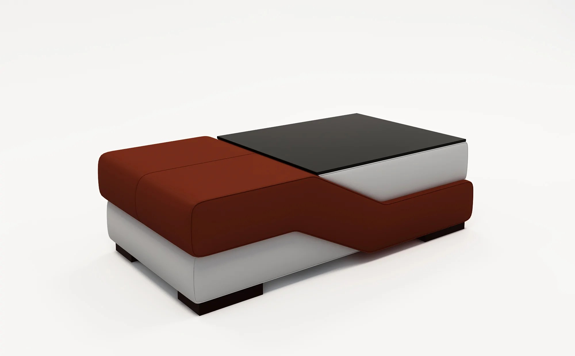 contemporary white leather and dark red coffee table w black glass table top