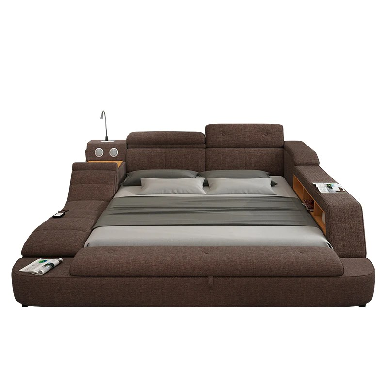 Multifunction Soft Fabric Bed Frame Furniture With Speaker Massage And Storage Box My Aashis