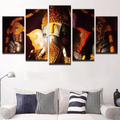 Artwork For Living Room Walls Rustic Decor 5 Pieces Canvas Ganesha Wall Art Home My Aashis