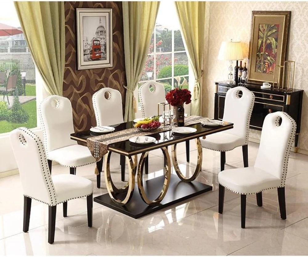 luxury black gold finish marble dining table set