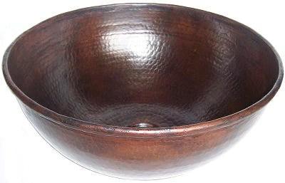 14 round hammered copper vessel sink