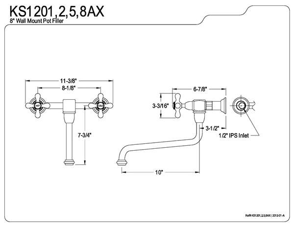 wall mount 8 inch center spread pot filler faucet
