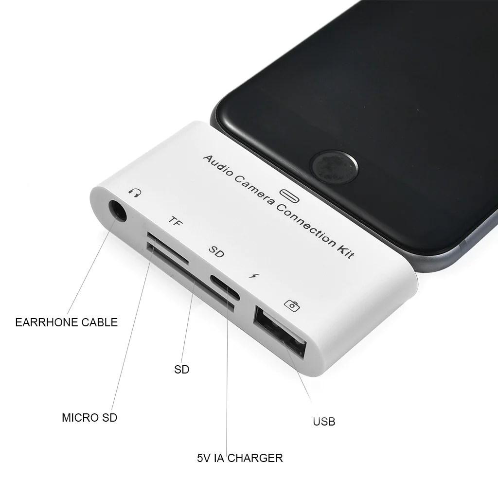 Idrop 5 In 1 Lightning Audio Camera Connection Kit