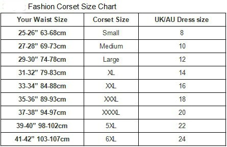 These corsets will pull your waist in by   require an accurate measurement also size charts  modeshe rh