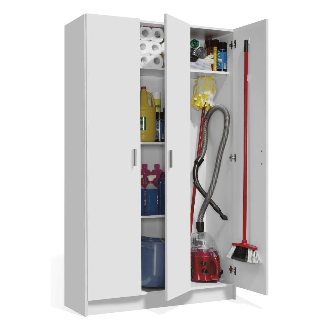VITA Utility 3 Door Broom Cupboard in White