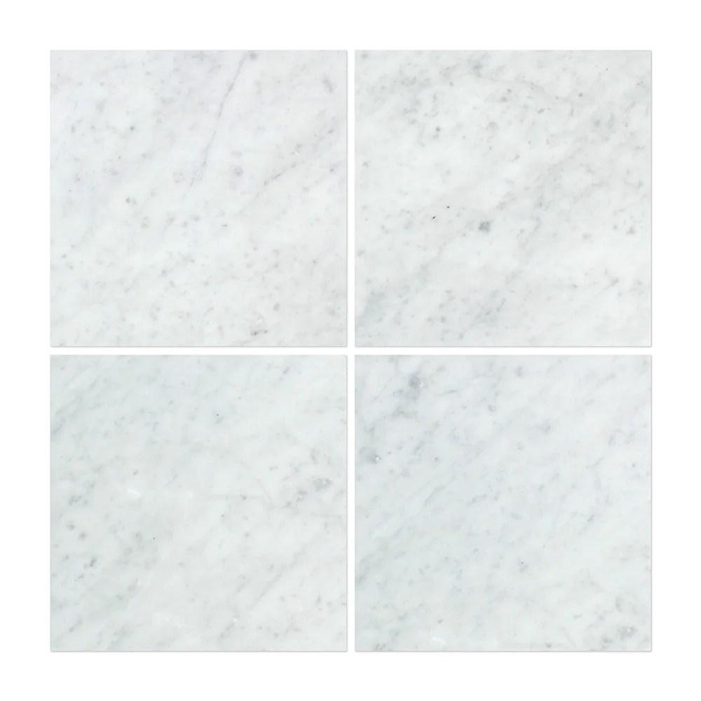 12 x 12 polished bianco carrara marble tile