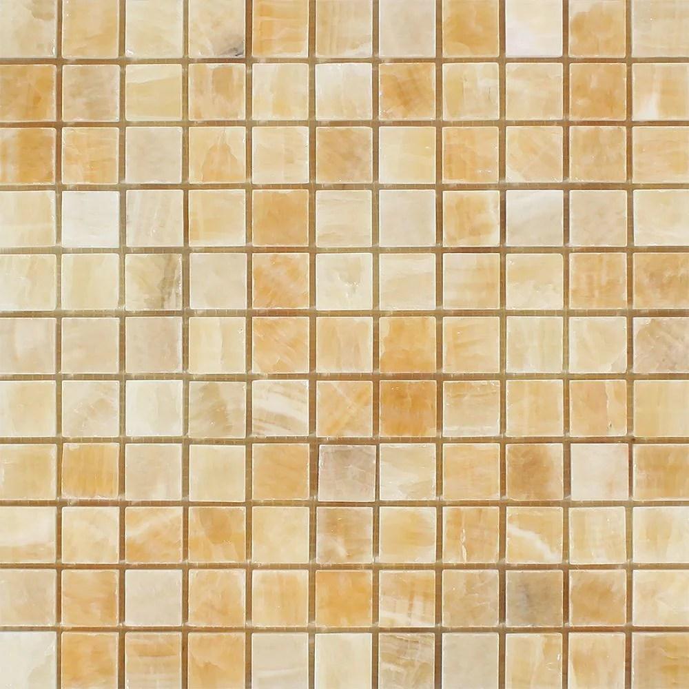 1 x 1 polished honey onyx mosaic tile