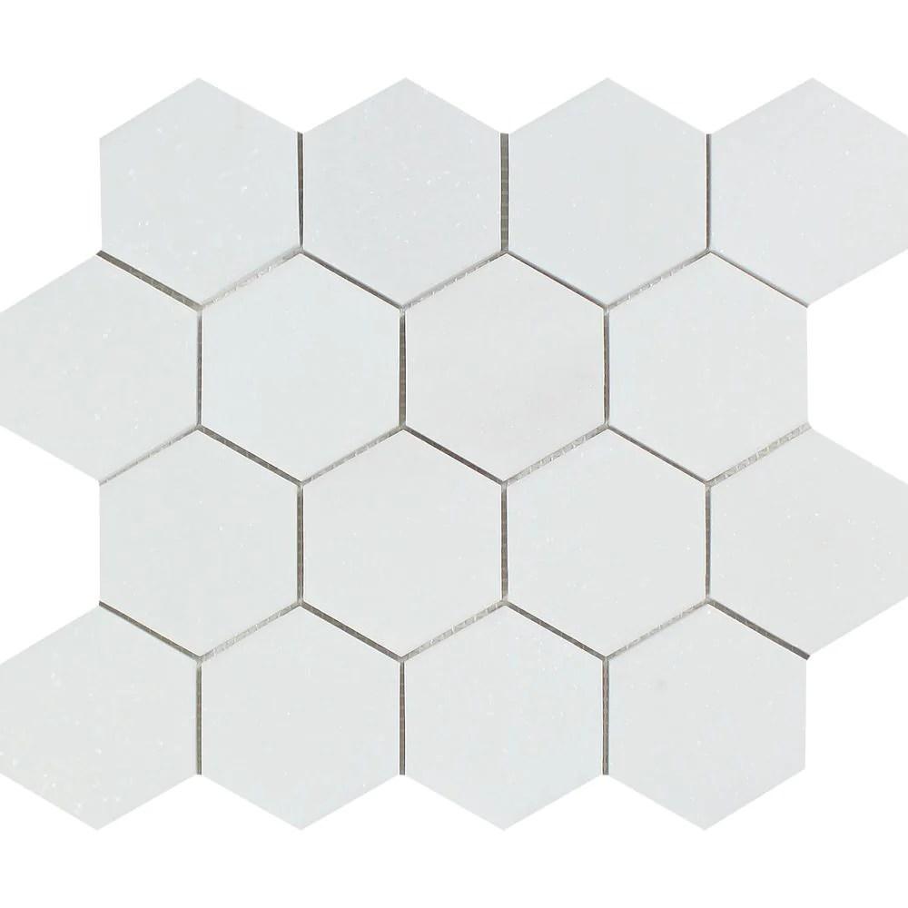 3 x 3 honed thassos white marble hexagon mosaic tile