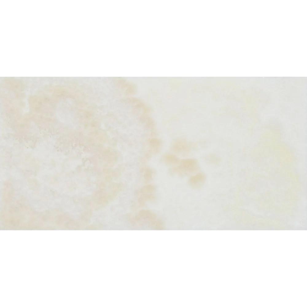 3 x 6 polished white onyx tile cross cut