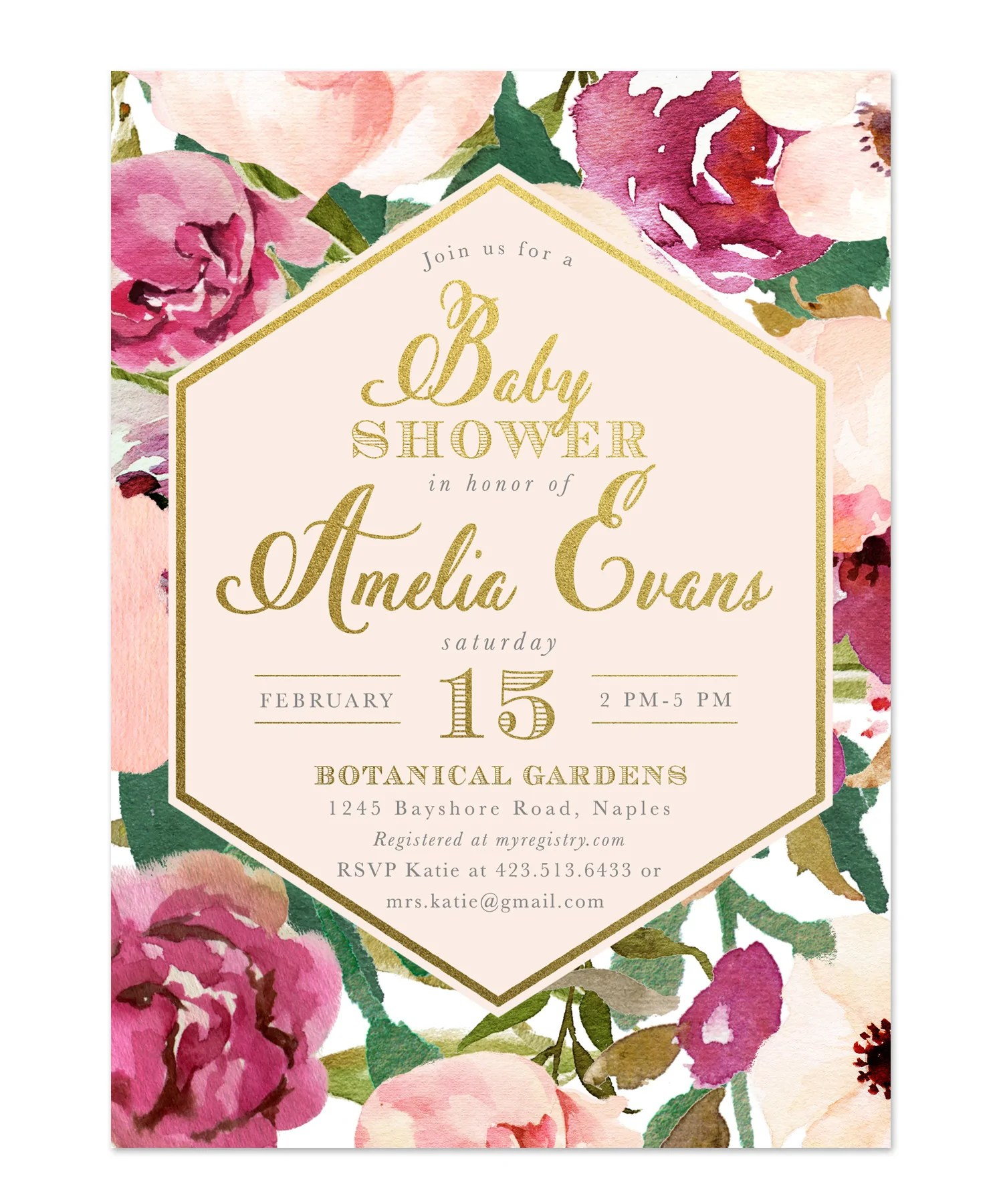 Amelia: Baby Shower Invitation, Burgundy, Blush Pink & Gold Floral
