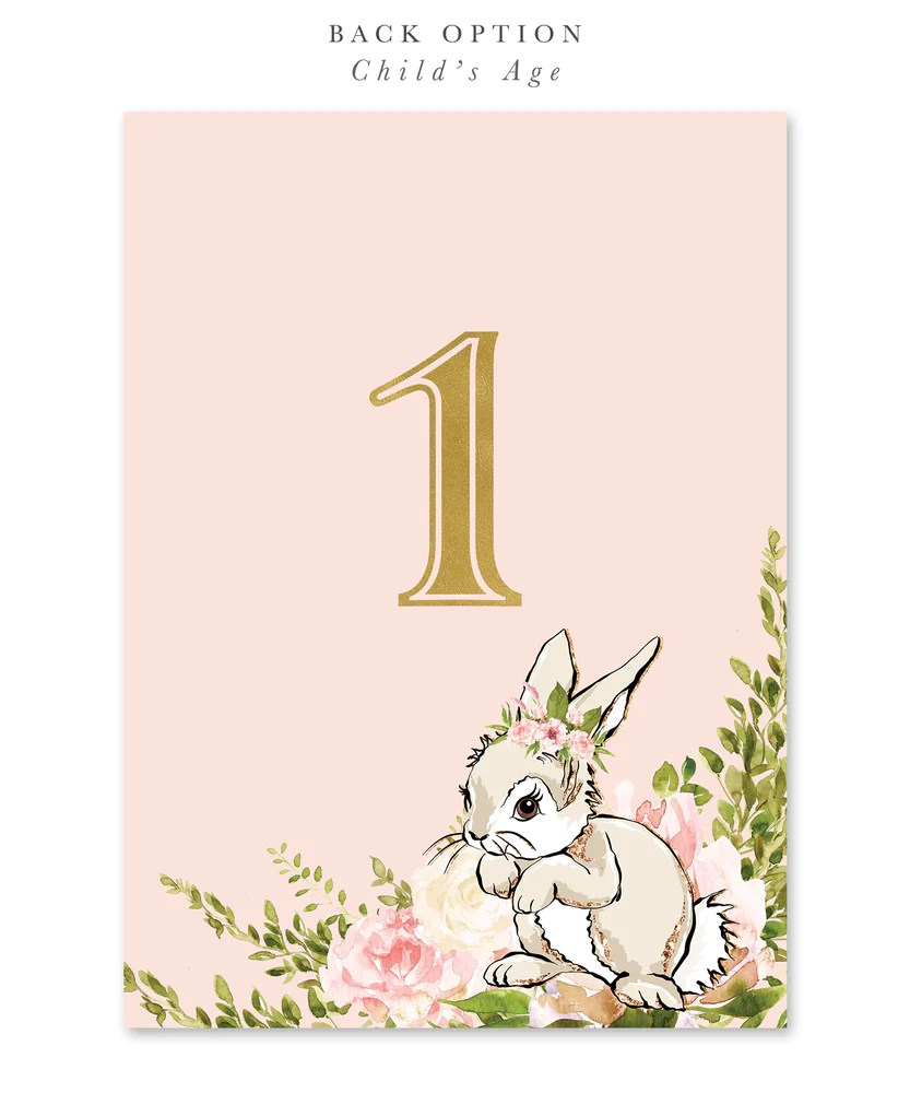 sophia some bunny is turning one first birthday invitation white bunny