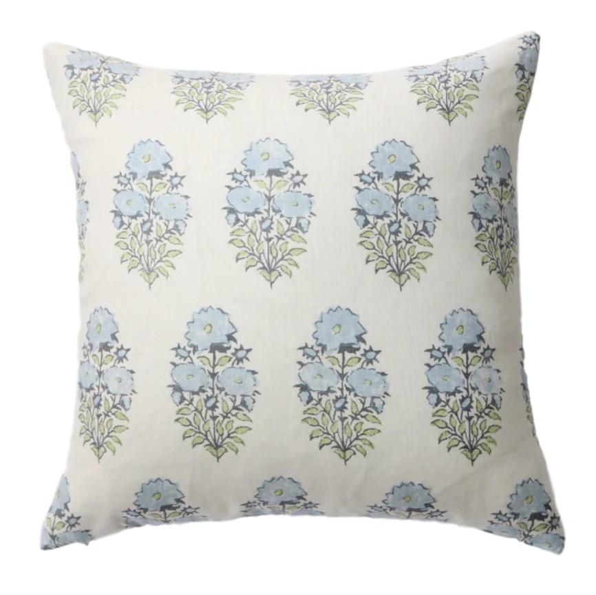 blue floral block print pillow cover
