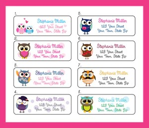 personalized owl address labels