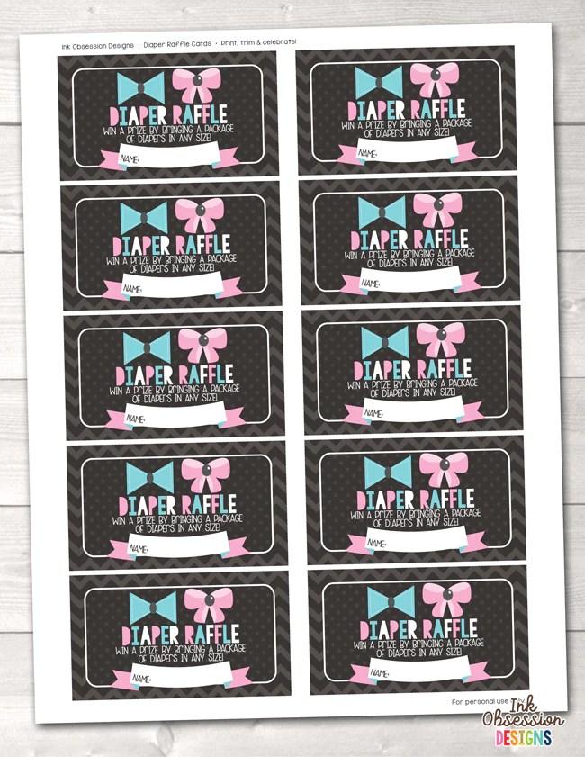Diaper Raffle Tickets Printable : diaper, raffle, tickets, printable, Gender, Reveal, Party, Printable, Diaper, Raffle, Ticket, Bradley/Ink, Obsession, Designs