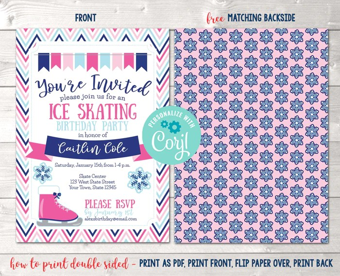 editable ice skating birthday party invitation pink instant download digital file